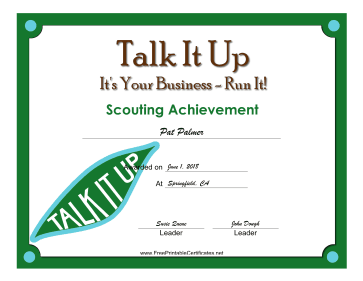 Talk It Up Badge certificate