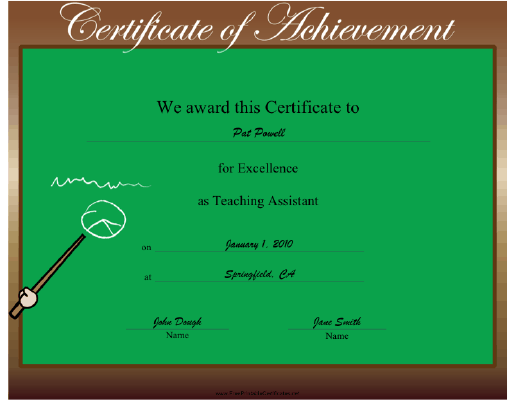 Teaching Assistant Excellence certificate