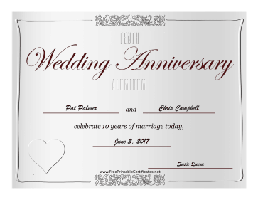 Tenth Wedding Anniversary certificate