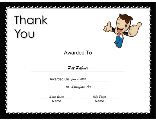 Thank You Small certificate