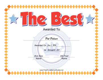 The Best certificate