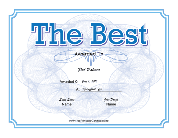 The Best Certificate Blue certificate