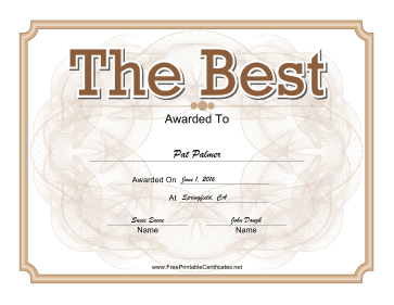 The Best Certificate Gold certificate
