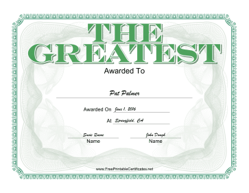 The Greatest certificate