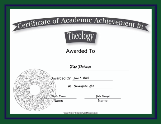 Theology Academic certificate