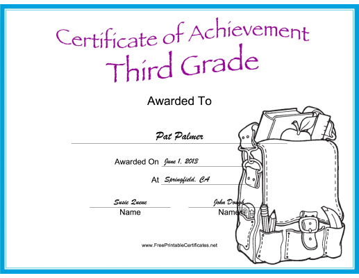 Third Grade Achievement certificate