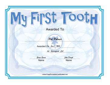 Tooth Fairy Blue certificate
