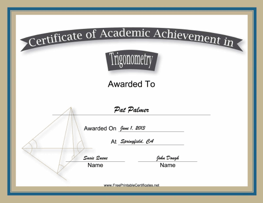 Trigonometry Academic certificate