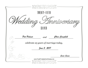 Twenty-Fifth Wedding Anniversary certificate