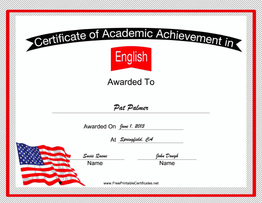USA English Language certificate
