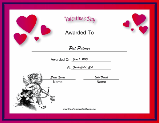 Valentines Day Holiday certificate