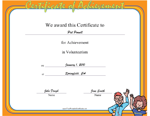Volunteerism certificate