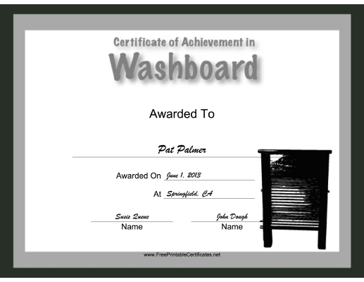 Washboard Instrumental Music certificate