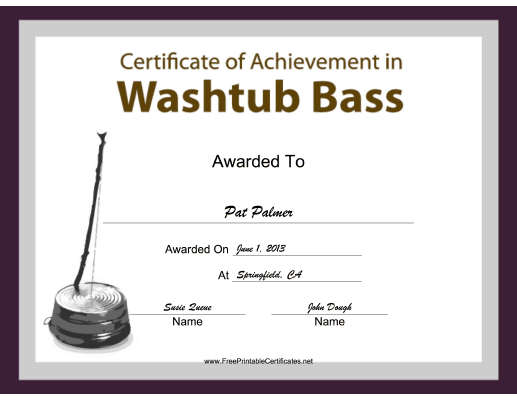 Washtub Bass Instrumental Music certificate