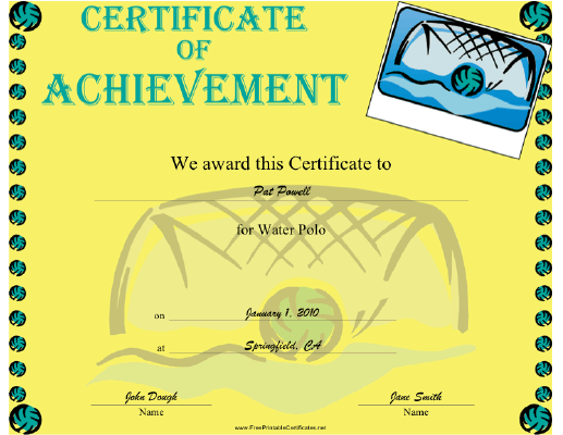Water Polo certificate