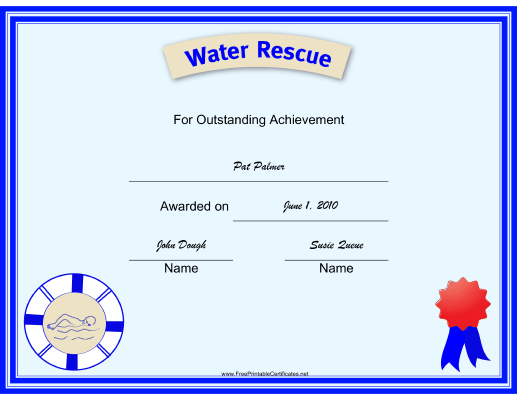 Water Rescue certificate
