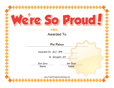 We Are So Proud certificate