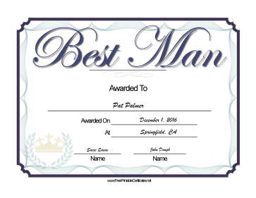 Wedding Best Man certificate