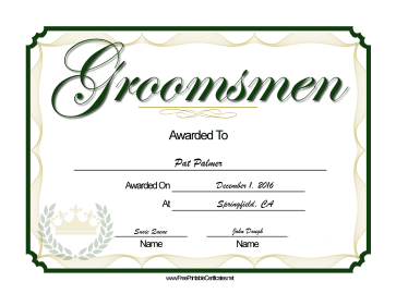 Wedding Groomsmen certificate