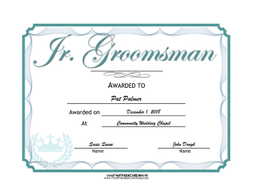 Wedding Junior Groomsman certificate