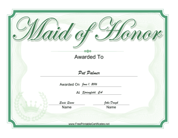 Wedding Maid of Honor certificate