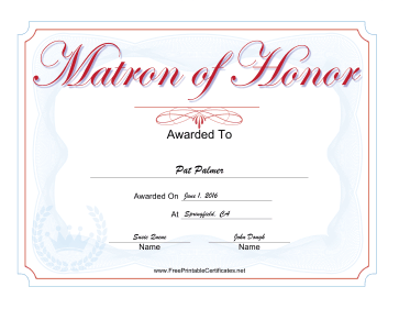 Wedding Matron of Honor certificate