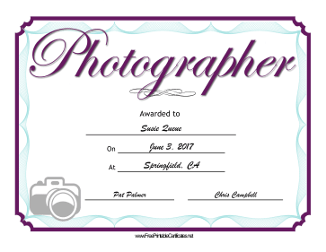Wedding Photographer certificate