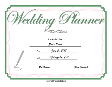 Wedding Planner certificate