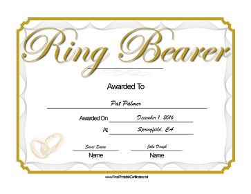 Wedding Ring Bearer certificate