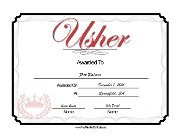 Wedding Usher certificate