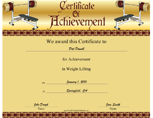 Weight Lifting certificate