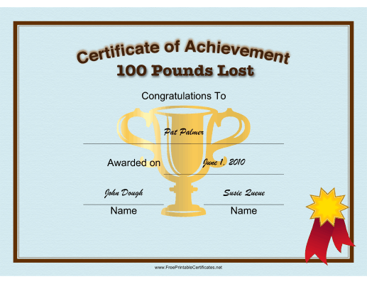 Weight Loss 100 Pounds certificate