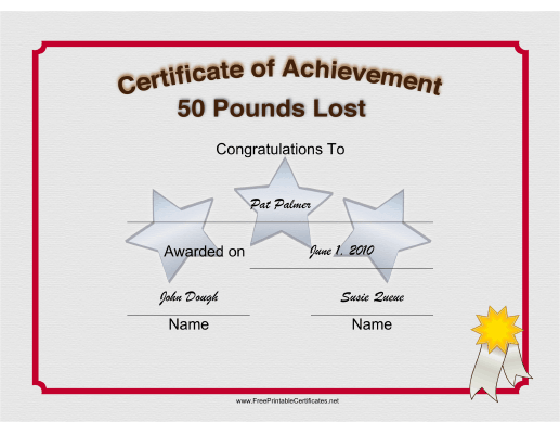Weight Loss 50 Pounds certificate