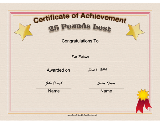 Weight Loss Achievement 25 Pounds certificate