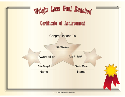 Weight Loss Goal Reached certificate