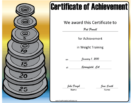 Weight Training certificate
