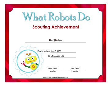 What Robots Do Badge certificate