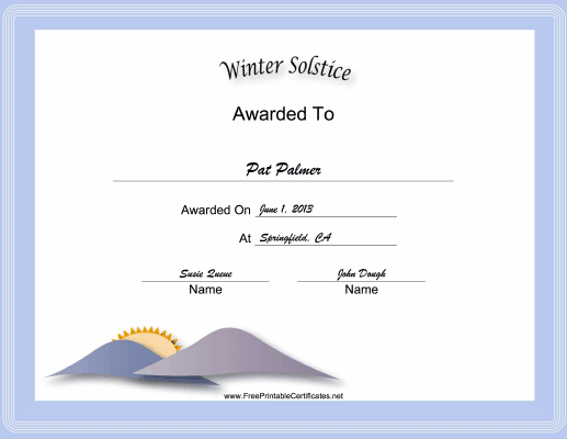 Winter Solstice Holiday certificate