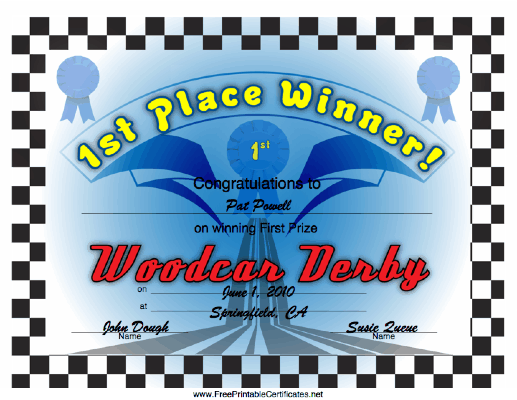 Woodcar Derby 1st Place certificate