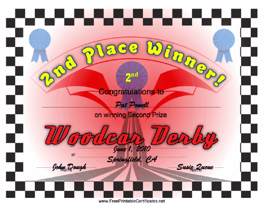 Woodcar Derby 2nd Place certificate