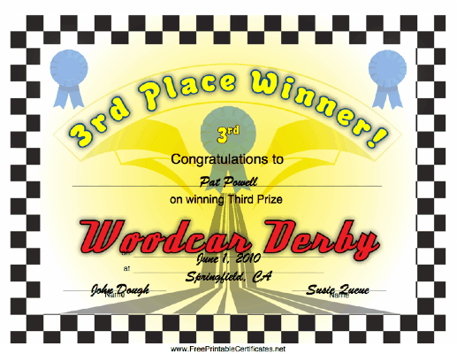 Woodcar Derby 3rd Place certificate