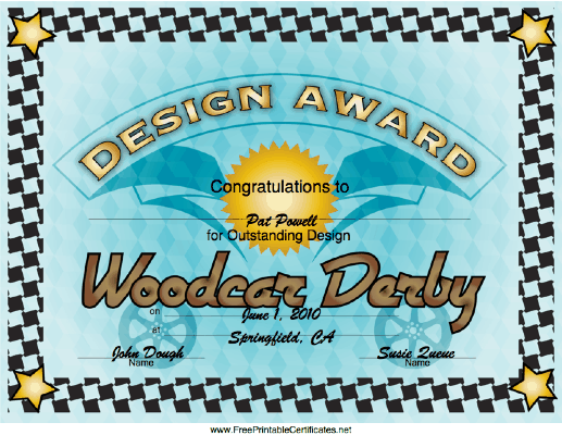 Woodcar Derby Design Award certificate