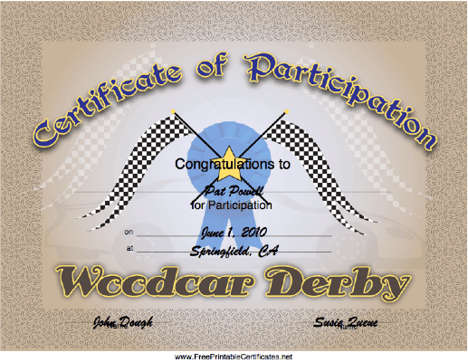 Woodcar Derby Participation certificate