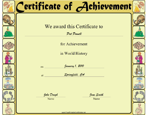 World History certificate