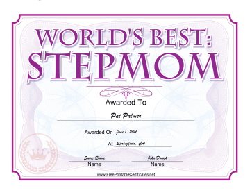 Worlds Best Stepmom Award certificate