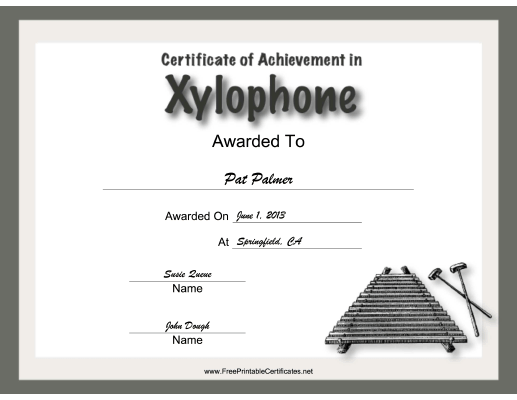 Xylophone Instrumental Music certificate