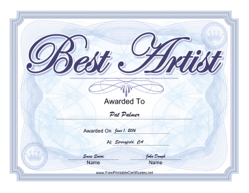 Yearbook Award Best Artist certificate