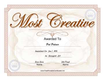 Yearbook Award Most Creative certificate