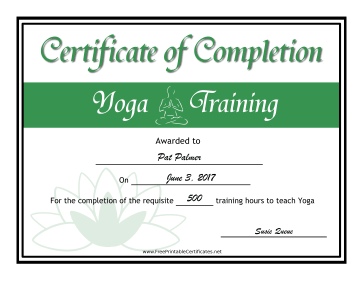 Yoga Certification certificate