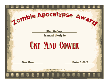Zombie Award Cry And Cower certificate